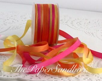 Tie Dyed Silk, Hot Pink/Orange/Yellow Silk Ribbon