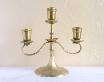 Brass Candelabra Centerpiece for 3 Candles Home Decor Gold Candleholder Hygge