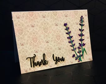 A6 lavender thank you card.