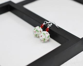 White Lampwork Earrings, White Earrings, Flower Earrings, Lampwork Earrings, Flower Jewelry, Floral Earrings, Red and White, Glass Earrings