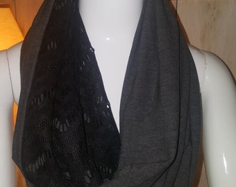 Grey scarf, black scarf, a scarf, infinity scarf, eternity scarf,  scarf, women's accessories, accessories, gift idea, evening scarf