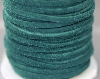1 m Teal suede cord 2.5 x 1.2 mm Dark teal suede lace 2.5 mm Teal cord Dark teal lace Teal leather cord Teal leather lace