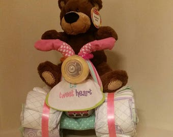 Quad Diaper Cake - Baby Shower Gift, Centerpiece or Hospital Gift can be made for Boy, Girl, or Neutral
