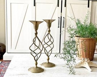 Vintage Mid Century Spiral Brass Candlesticks /Modern Rengency BRass Boho Decor