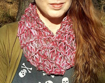 Pink and grey chunky knit cowl
