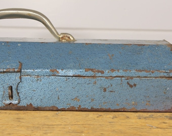 Industrial Blue Metal Tool Box Vintage Toolbox Vintage Tool Chest Latch Rusty Industrial Decor Wide Toolbox Blue Metal Decor Storage Old