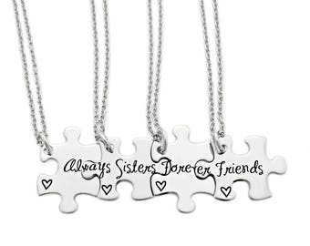 Personalized Always Sisters Forever Friends Puzzle Piece Necklace Set - Engraved Stainless steel - Sister Jewelry - Sister Necklaces - 1179