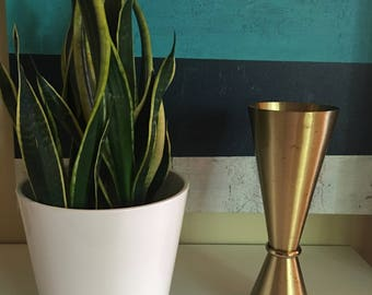Vintage Atomic Mid Century Modern Reverse Double Cone Brass Planter Vase with Weighted Bottom- Cool MCM Decor