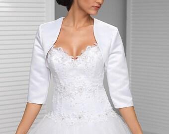 3/4 sleeved Satin Bridal Bolero Jacket