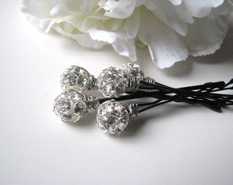 Crystal Rhinestone Hair Pin Set, Wedding