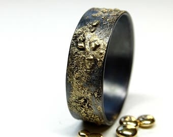 mens wedding band gold silver, meteorite ring gold, constellation ring mens, gold fusion ring, viking wedding band gold molten wedding ring