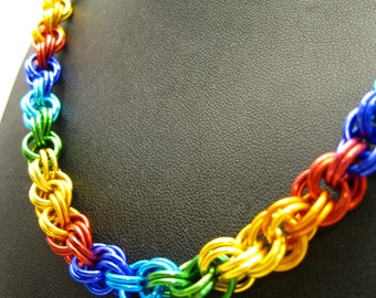 Rainbow Double Spiral Chainmaille Necklace