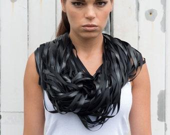 Black Leather Scarf / Extravagant Fringe Black Scarf / Fashion Snood / Black Leather Necklace / Statement Necklace by METAMORPHOZA