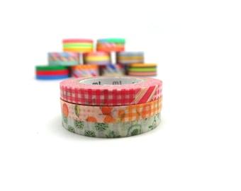 Orange Washi Tape - Collage Print Washi Tape - Slim Washi Tape - Flower Washi Tape - MT Washi Tape Set of 3