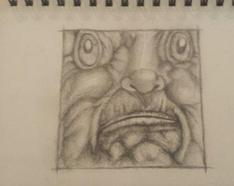 Original pencil Face sketch 8.5x5.5 inches.