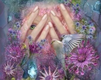 Rebirth, Original Painting,  Archival Print, Home Decor, Woman, Flowers, Imagination, Beautiful Dove