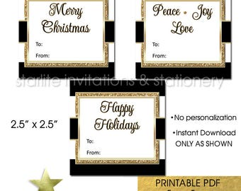 Printable Christmas Gift Tags, Christmas Gift Tags Download, Black and Gold, Holiday Gift Tags Printable, INSTANT DOWNLOAD