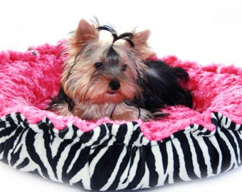 Minky Couture Pet Bed Zebra Print Black