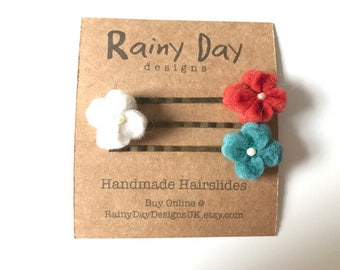Red, White and Teal Hair Slide Trio