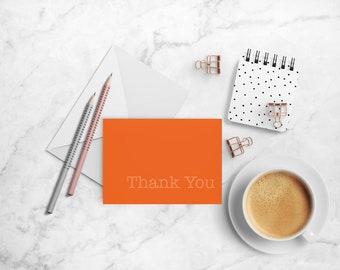 Thank You Note Cards - A2 Folded Cards - Orange Note Cards - Thank You Note - Paper Stationery - Orange Cards