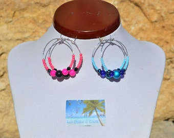 Pink and black rings earrings