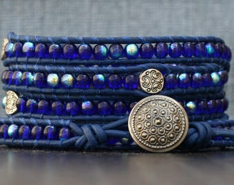 READY TO SHIP wrap bracelet- cobalt blue glass and silver filigree spacer beads on royal blue leather - sapphire - boho gypsy bohemian