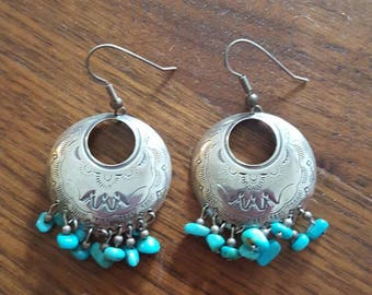 Beautiful 925 turquoise dangle earrings southwest design