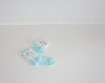 Vintage Blue and White Baby Socks