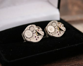 Industrial Cufflinks Cool Cufflinks for Men Metal anniversary gifts Gifts for Husband Sterling Silver Cufflink Steampunk Style for Him