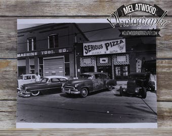 Hot Rods & Pizza Handmade Silver Gelatin Print by Mel Atwood