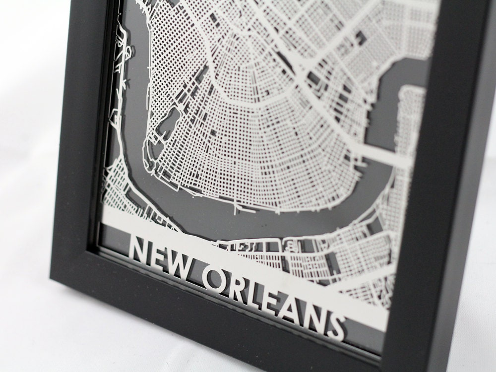 New Orleans Louisiana Stainless Steel Laser Cut Map
