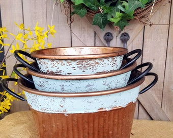 Set of 3 Bronze round metal containers, Home decor metal containers/baskets home decor