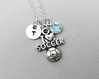 I Love Soccer Necklace - Soccer, Football, Handstamped Initial, Customized Swarovski crystal birthstone