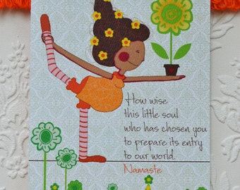 Yoga Pregnancy Card, Greeting Card,Pregnancy greeting card, 5 x 7""