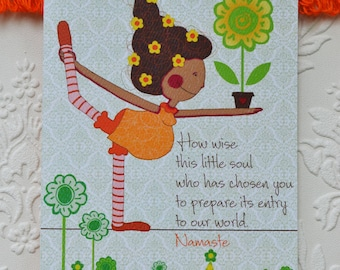 """Yoga grossesse Card, carte de voeux, carte de voeux de grossesse, 5 x 7 """""""