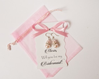 Will you be my Bridesmaid Gift Will you be my Maid of Honor Gift Bridesmaid Candle Maid of HonorWill you be my Bridesmaid card and Earrings