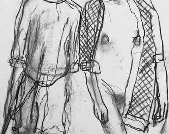 Original charcoal drawing females 1587.
