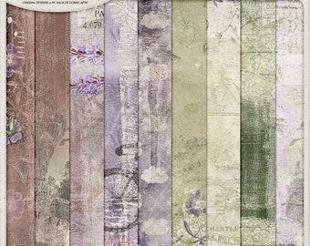 Wanderlust Travel, Shabby Floral Papers, Bon Voyage, Instant Download, Artsy Paper Pack, Digital Scrapbooking Paper 12x12, Lavender, Clouds