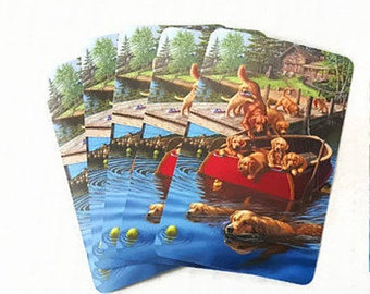 Golden Retriever Dogs & Puppies Playing Cards Pups in a Boat and Swimming in a Lake Poker Cards
