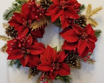 Christmas wreath/ winter wreath/ front door wreath ready/door wreath/ holiday wreath