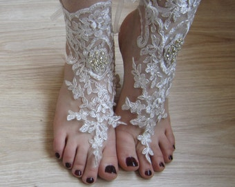 Silver lace Barefoot Sandals / anklet, beach sandals, wedding sandals, bridal gloves,rhinestones ,wedding shoes