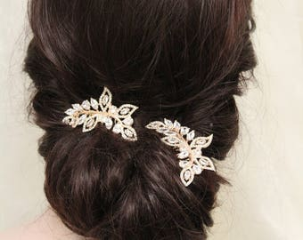 2 Small  Rose Gold  Hair Combs , Wedding Hair Comb , Vintage Style Crystal Hair Comb, Art Deco headpiece, Bridal Headpiece, Bridal Hair Comb