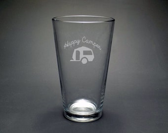 Happy Camper Pint Glass - Summer Pint Glass - Camping Pint Glass - Camper Pint Glass - Summer Fun Pint Glass - Camping Glass