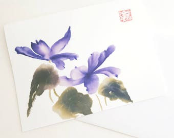 Spring Purple Flowers BlankA2  Notecards with Envelopes, Set of 8
