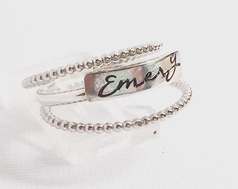 Mothers Stackable Name Rings - Stacking Kids Name Rings - Sterling Silver Stacking - Gifts for Mom - Personalized - Gifts from Kids