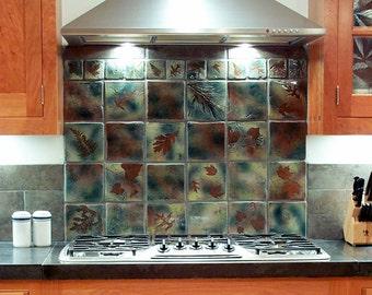 """6 """" backsplash accent tiles decorative tile  Coaster in """"Green Leaf"""" Glaze you pick the leaf handmade stoneware tiles"""