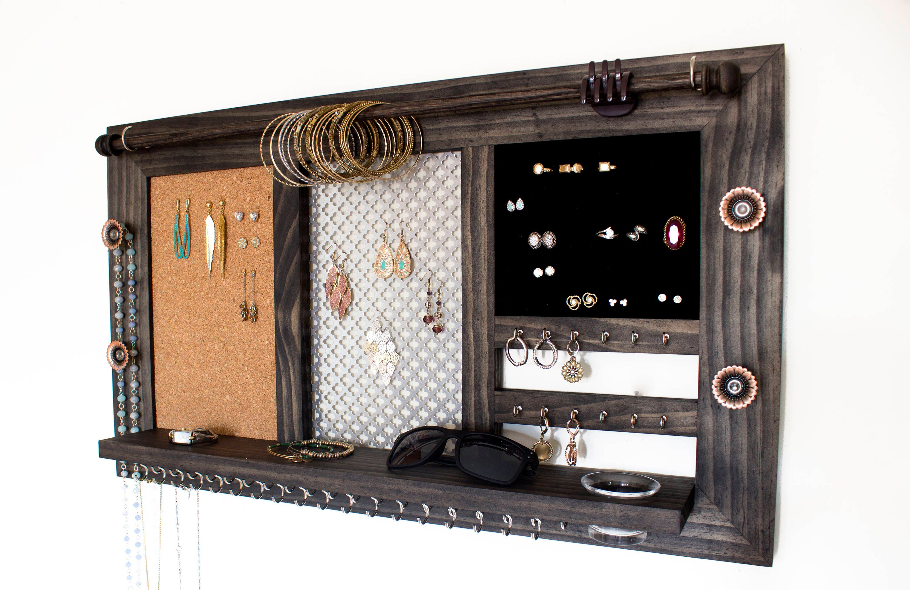 Jewelry Hanger Part - 25: Wall Hanging Jewelry Organizer // Jewelry Display // Jewelry Holder // Jewelry  Hanger // Ring Display // Earring Organizer