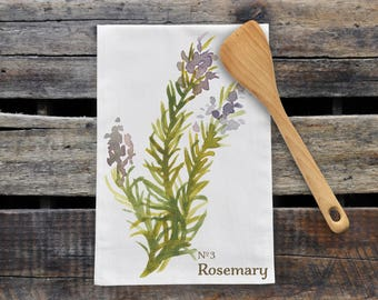 Rosemary Herb Tea Towel, Flour Sack Kitchen Towel, Modern Farmhouse Kitchen Tea Towel Hostess Kitchen Gift For Mom, Dish Towel Kitchen Decor