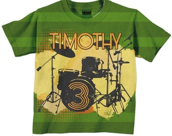 Boys Drum Shirt, Personalized Drum Set, Rock and Roll Birthday T-Shirt