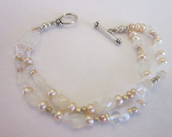 Vintage Sterling Silver & Rock Crystal and Real Pearl Double Strand Bracelet